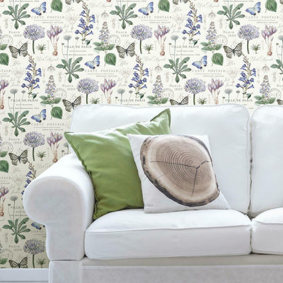 Butterfly Botanical Peel and Stick Wallpaper roomset