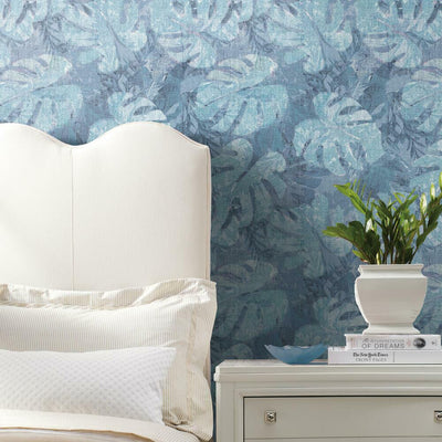 Jungle Leaf Canopy Peel and Stick Wallpaper blue roomset