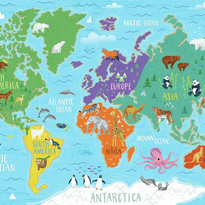 World Map Mural Peel and Stick Wallpaper