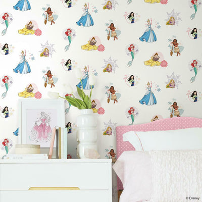 Disney Princess Power Peel and Stick Wallpaper white roomset
