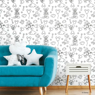 Disney Mickey Mouse Line Art Peel and Stick Wallpaper black roomset