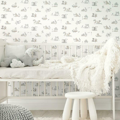Disney Baby Animals Peel and Stick Wallpaper grey roomset