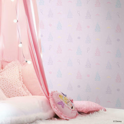 Disney Princess Castle Peel and Stick Wallpaper purple roomset