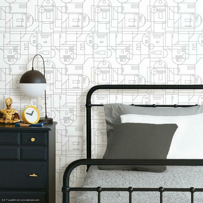 Star Wars R2D2 Geometric Peel and Stick Wallpaper white roomset