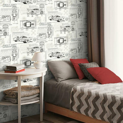Disney and Pixar Cars Schematic Peel and Stick Wallpaper grey roomset