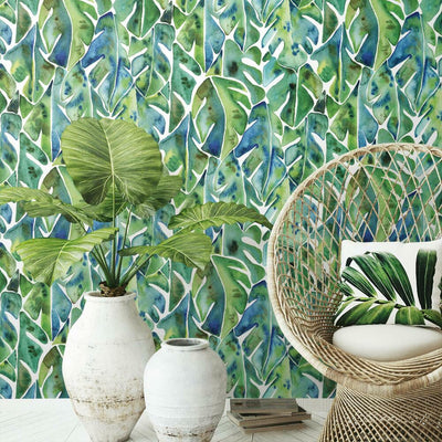 CatCoq Philodendron Peel and Stick Wallpaper roomset