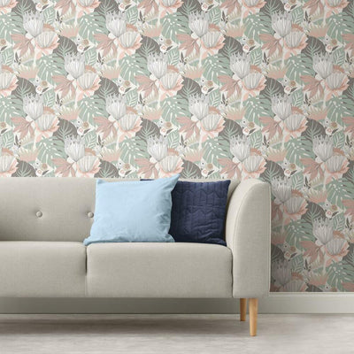 Retro Tropical Leaves Peel and Stick Wallpaper pink roomset