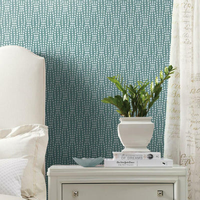 Strands Peel and Stick Wallpaper blue roomset