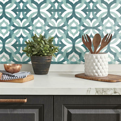 Tipton Peel and Stick Wallpaper teal roomset