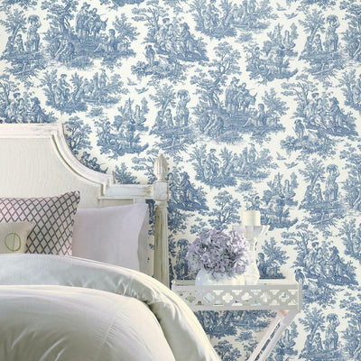 Country Life Toile Peel and Stick Wallpaper blue roomset