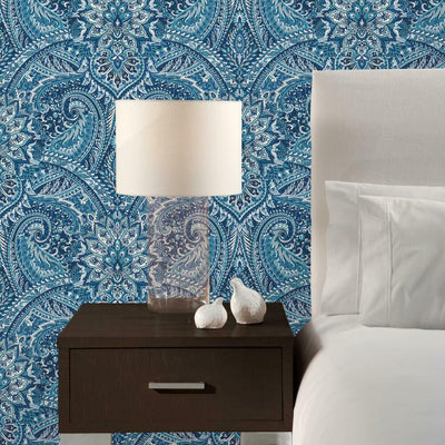Swept Away Peel and Stick Wallpaper blue roomset
