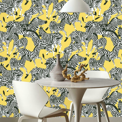 Herd Together Peel and Stick Wallpaper yellow roomset