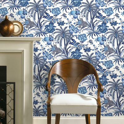 Exotic Curiosity Peel and Stick Wallpaper blue roomset