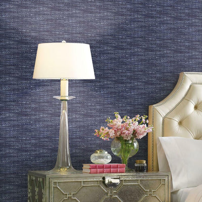 Tabby Peel and Stick Wallpaper dark blue roomset