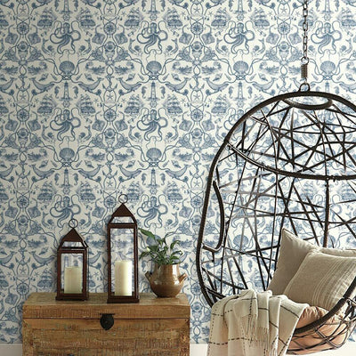 Deep Sea Toile Peel and Stick Wallpaper blue roomset