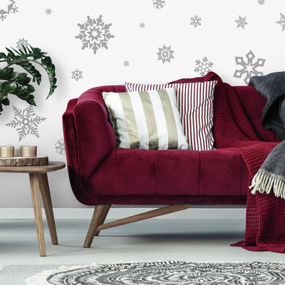 Glitter Snowflakes Wall Decals roomset