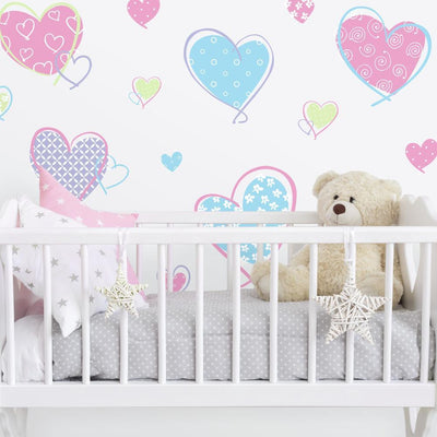 Hearts Wall Decals roomset