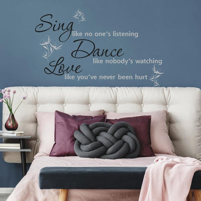 Sing, Dance, Love Quote Wall Decals roomset