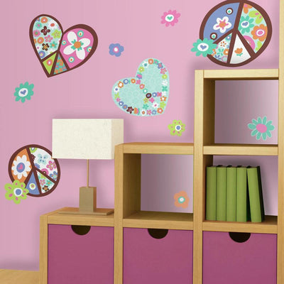 Hearts and Peace Signs Giant Wall Decals roomset