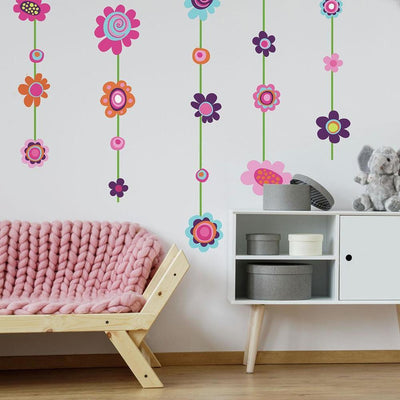 Flower Stripe Giant Wall Decals roomset