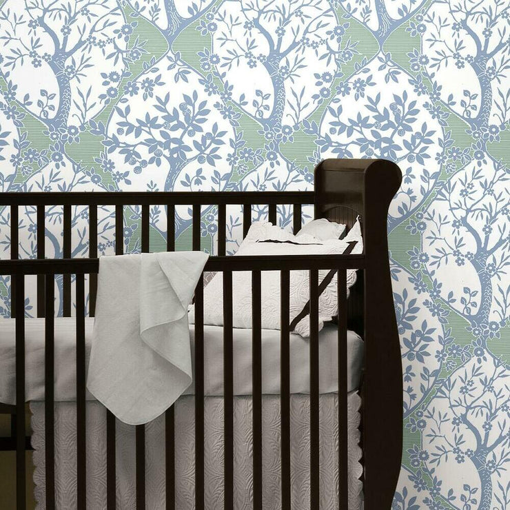 Tree and Vine Ogee Peel and Stick Wallpaper blue roomset