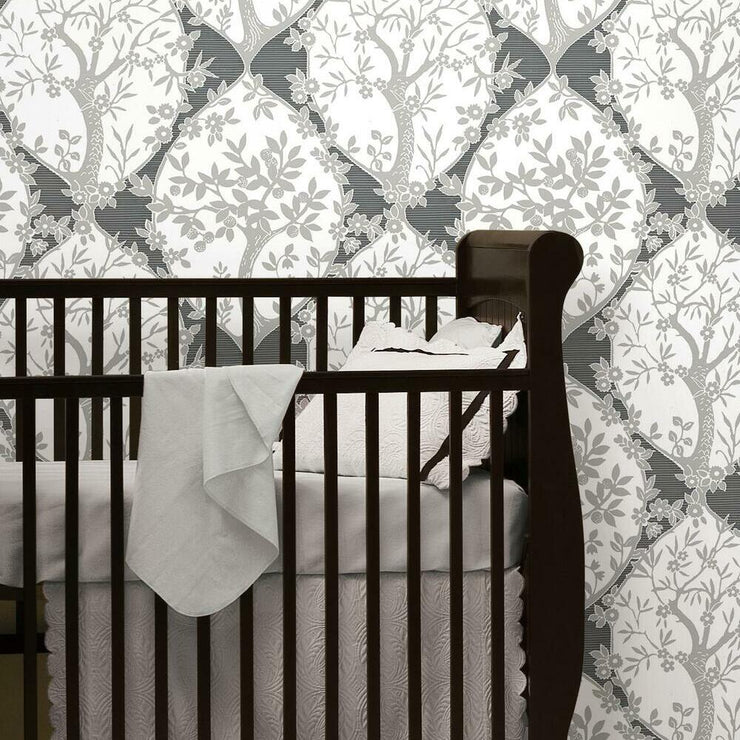 Tree and Vine Ogee Peel and Stick Wallpaper grey roomset