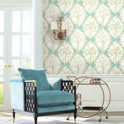 Tree and Vine Ogee Peel and Stick Wallpaper green roomset