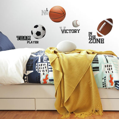 All Star Sports Sayings Wall Decals roomset