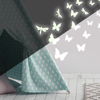 Butterflies & Dragonflies Glow in the Dark Wall Decals roomset 2
