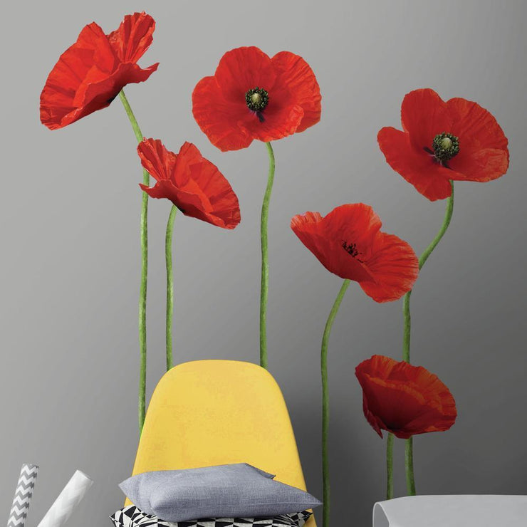 Poppies at Play Giant Wall Decals roomset 3