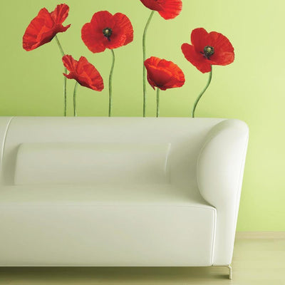 Poppies at Play Giant Wall Decals roomset