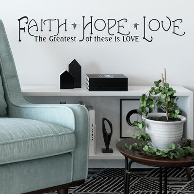 Faith, Hope, Love Quote Wall Decals roomset