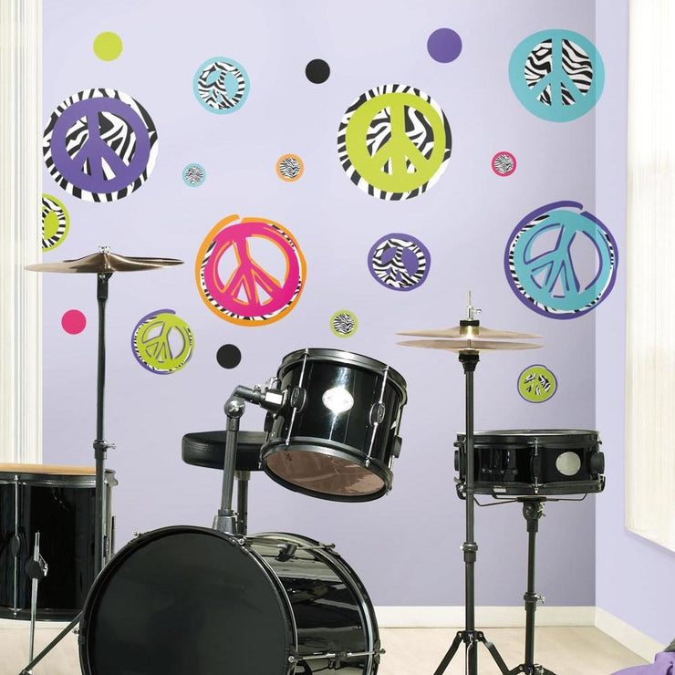 Zebra Print Peace Signs Wall Decals roomset