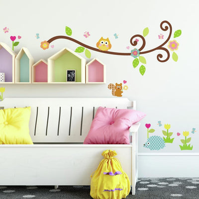 Scroll Tree Branch Wall Decals roomset