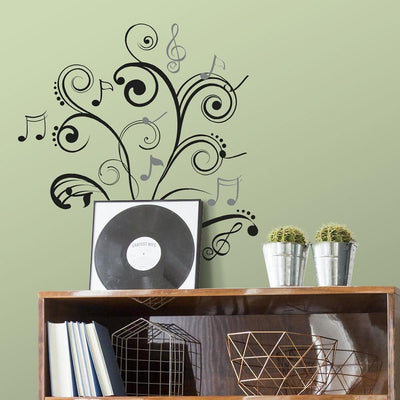Music Note Scroll Wall Decals roomset