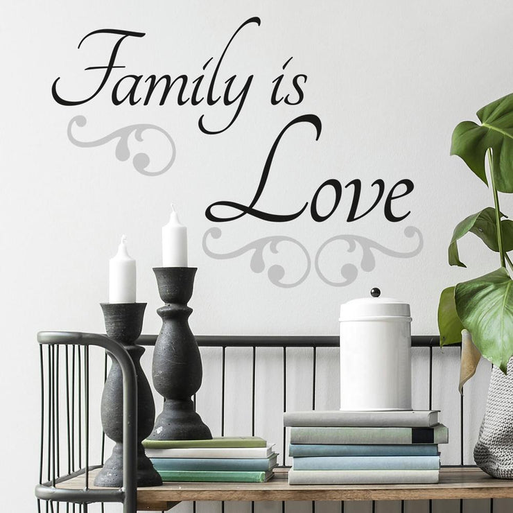 Family Is Love Quote Wall Decals roomset