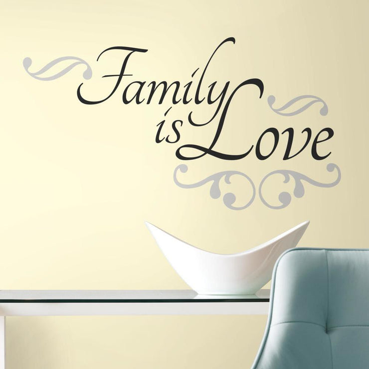 Family Is Love Quote Wall Decals roomset 2