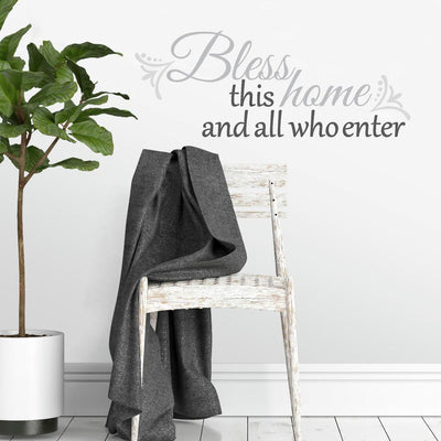 Bless This Home Quote Wall Decals roomset