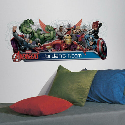 Avengers Assemble Headboard Giant Wall Decal with Alphabet roomset