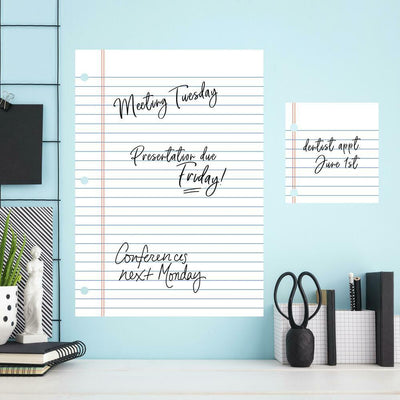 Notebook Paper Dry Erase Wall Decals roomset