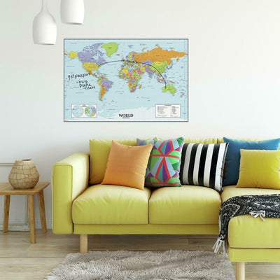 Dry Erase World Map Giant Wall Decal roomset