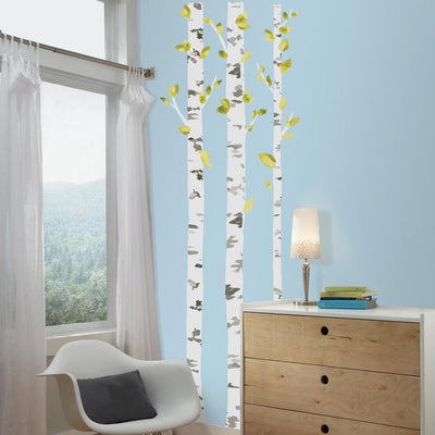 Birch Trees Peel and Stick Giant Wall Decals roomsett