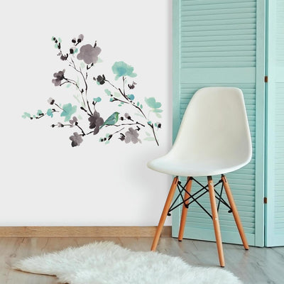 Blossom Watercolor Bird Branch Wall Decals roomset