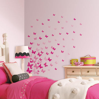 Pink Flutter Butterfly Wall Decals roomset