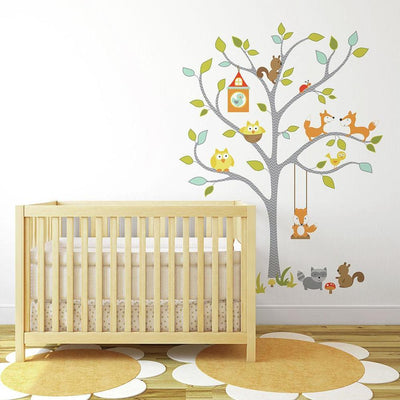 Woodland Fox & Friends Tree Giant Wall Decals roomset