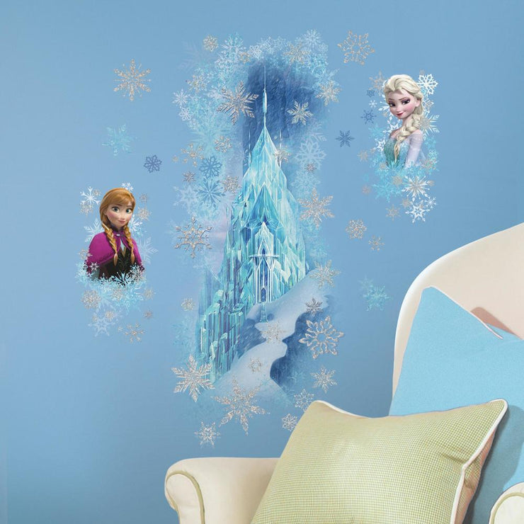 Disney Frozen Ice Palace ft. Elsa & Anna Giant Wall Decals With Glitter roomset