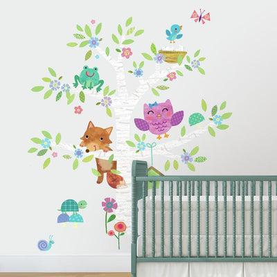 Woodland Baby Birch Tree Giant Wall Decals roomset 2