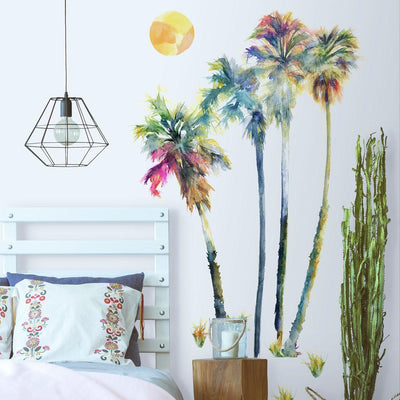 Watercolor Palm Tree Giant Wall Decals roomset 2