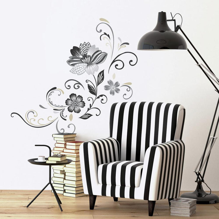 Black and White Flower Scroll Peel and Stick Giant Wall Decals roomset