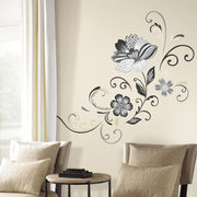 Black and White Flower Scroll Peel and Stick Giant Wall Decals roomset 2